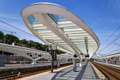 At the station Guillemins in Liège, Belgium Royalty Free Stock Photography