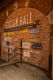 Station hall. Old train station in York, colors, brick wall, posters, inscriptions on the wall, history, visiting the old trains Stock Image