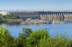 Station hydro-électrique de Dnieper dans Zaporozhye Photos libres de droits