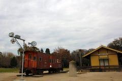 Station Königs City Train und südlicher pazifischer Zug an der Geschichte des Bewässerungs-Museums, König City, Kalifornien Stockfotografie