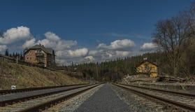 Station Karlovy Vary Brezova in spring nice day. Station Karlovy Vary Brezova in spring nice sunny day Royalty Free Stock Photography