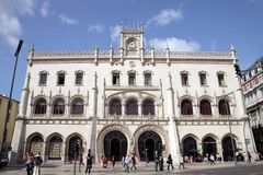 Station in Lisbon. Manueline architectural style Stock Photos