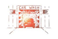 Station m?canique de lavage d'automobile, douche de pression de transport, soin de v?hicule, entretien illustration libre de droits