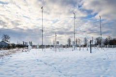 Station météorologique Vue d'ensemble L'hiver Images libres de droits