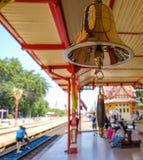 Station masters bell at Hua Hin railway station Thailand. Royalty Free Stock Image