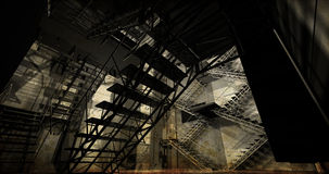 Station. Modern industrial interior, stairs, clean space in indu Stock Image
