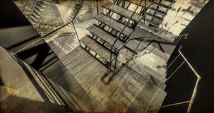 Station. Modern industriell inre, trappa, rengöringutrymme i indu Royaltyfri Bild