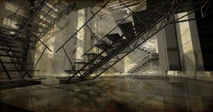 Station. Modern industriell inre, trappa, rengöringutrymme i indu Arkivbilder