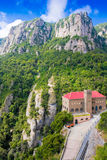 Station Montserrat-Aeri against rocks, Montserrat, Spain Royalty Free Stock Images