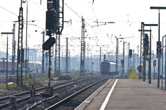 Station in morning-dust. Train platform and trainstation on early morning - munich, station pasing, germany Royalty Free Stock Photography
