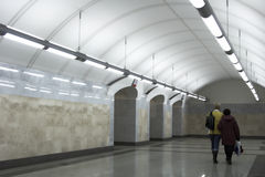 Station of Moscow metro. People on station of Moscow metro royalty free stock photo
