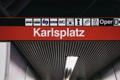 Station name sign and directions inside Karlsplatz station in Vienna, Austria. Vienna, Austria - November 25, 2018: Station name sign and directions inside royalty free stock photo