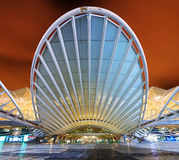 Station Orient. The beautiful modern entrance to the Orient station at night in Lisbon, Portugal Royalty Free Stock Photos