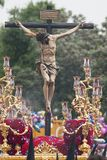 Christ of the brotherhood of san Bernardo, Holy Week in Seville. Station of penance from the brotherhood of san Bernardo through the streets of Seville royalty free stock image