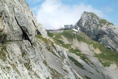 Station Pilatus Kulm nahe dem Gipfel des Bergs Pilatus Stockfotos