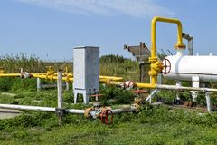 Station for preliminary separation and heating of oil emulsion. Equipment at the oil and gas field. Royalty Free Stock Image