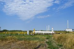 Station for preliminary separation and heating of oil emulsion. Equipment at the oil and gas field. Royalty Free Stock Images