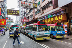 Station with public light buses in Hong Kong Royalty Free Stock Photography