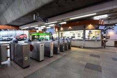 Station publique de note de MOIS de train de BTS dans la soirée de Bangkok Photo stock