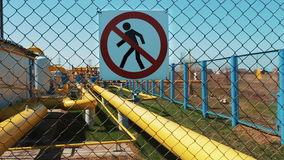 A station for purification and processing of natural gas. Transportation and distribution of petroleum products. Sign of stock video