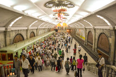 The station of Pyongyang Metro. Photographed in Pyongyang, north korea (DPRK Royalty Free Stock Photos