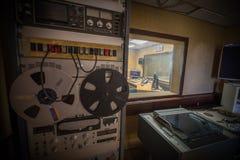 Station of radio. Microphone modern radio station broadcasting studio stock photos