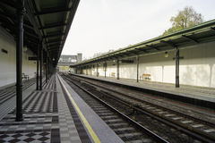 Station. On the railroad with a canopy Royalty Free Stock Photography