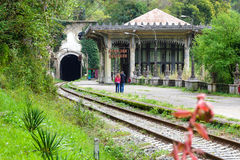 Station and the railway in the New Athos Royalty Free Stock Photos