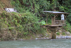 Station of rope river crossing nearly Bukit Lawang Royalty Free Stock Photography