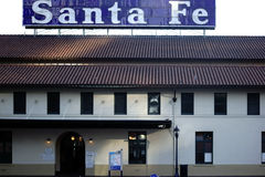 Station Santa Fe in San Diego. San Diego, United States - December 25, 2015: The entrance of the Santa Fe Station built in Spanish Colonial style on December 25 Royalty Free Stock Photography