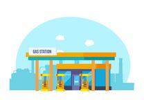 Station service, aspect, équipement technique, contre le contexte des rues de ville illustration stock