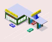 Station service isométrique avec des voitures, des becs de pompe d'essence, le marché, le café et des inscriptions sur la route Photographie stock