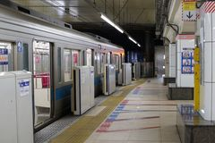 Station in Shinjuku, Tokyo. Tokyo, Japan-March 2, 2017:stations in Shinjuku area are the busiest in Japan. However, after the peak rush hour, the station regains Royalty Free Stock Photos