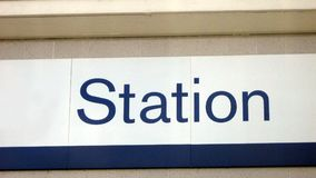 Station sign. Sign of a bus station, train station, railway, or subway Stock Images