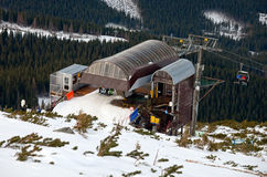 Station of the ski chairlift stock images