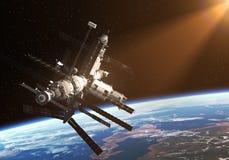 Station spatiale dans les rayons de The Sun illustration stock