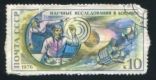 Station spatiale de Salyut de cosmonautes à bord et stat planétaire de Mars photo libre de droits