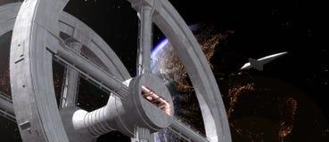 Station spatiale et navette illustration de vecteur