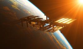 Station Spatiale Internationale dans les rayons de Sun illustration de vecteur