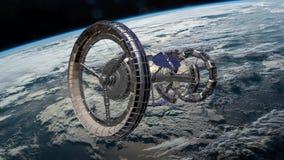 Station Spatiale Internationale ISS de Sci fi tournant au-dessus de l'atmosphère terrestre Station spatiale satellisant la scène  clips vidéos