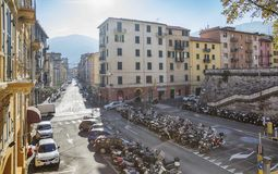 Station square of old town La Spezia, Italy Stock Image