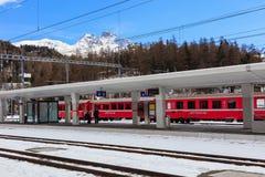 Station in St Moritz, Zwitserland Stock Fotografie