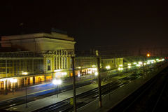 Station in Ternopil. Night view of the railway station in Ternopil royalty free stock photos
