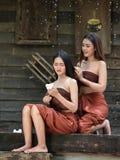 Station thermale asiatique de cheveux de femmes Photo stock