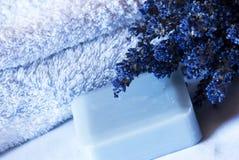 Station thermale de lavande réglée - aromatherapy Photographie stock libre de droits