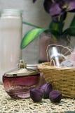Station thermale et produits de beauté violets Photos stock