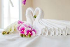 Station thermale et soins de santé avec des fleurs et des serviettes Produits naturels à images libres de droits
