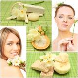 Station thermale - femme, savon de bain, produit de beauté, fleur Image libre de droits