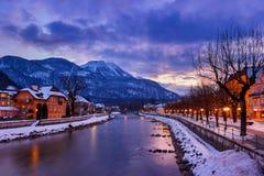 Station thermale mauvais Ischl Autriche au coucher du soleil Photo libre de droits