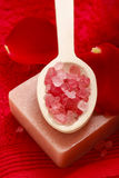 Station thermale réglée : bougie parfumée, sel de mer, savon liquide et rouge romantique Photos stock